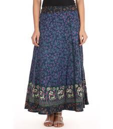 Buy Green cotton printed wrap around free size skirt cotton-skirt online