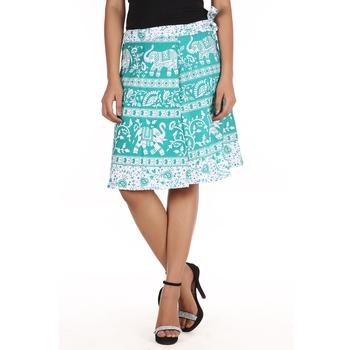 Green cotton printed wrap around free size skirt