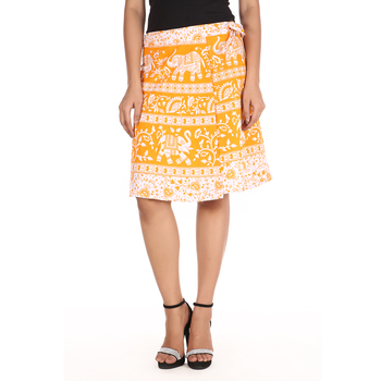 Yellow cotton printed wrap around free size skirt