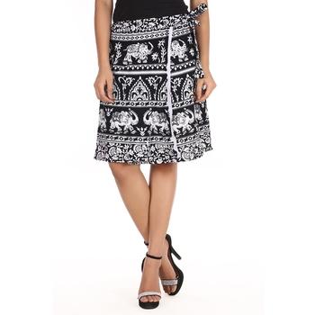 Black cotton printed wrap around free size skirt