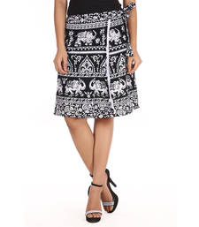 Buy Black cotton printed wrap around free size skirt short-skirt online