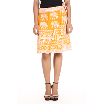 Yellow cotton printed wrap around free size skirt