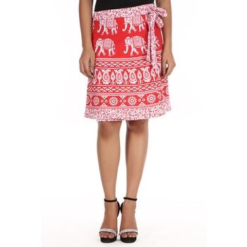 Red cotton printed wrap around free size skirt