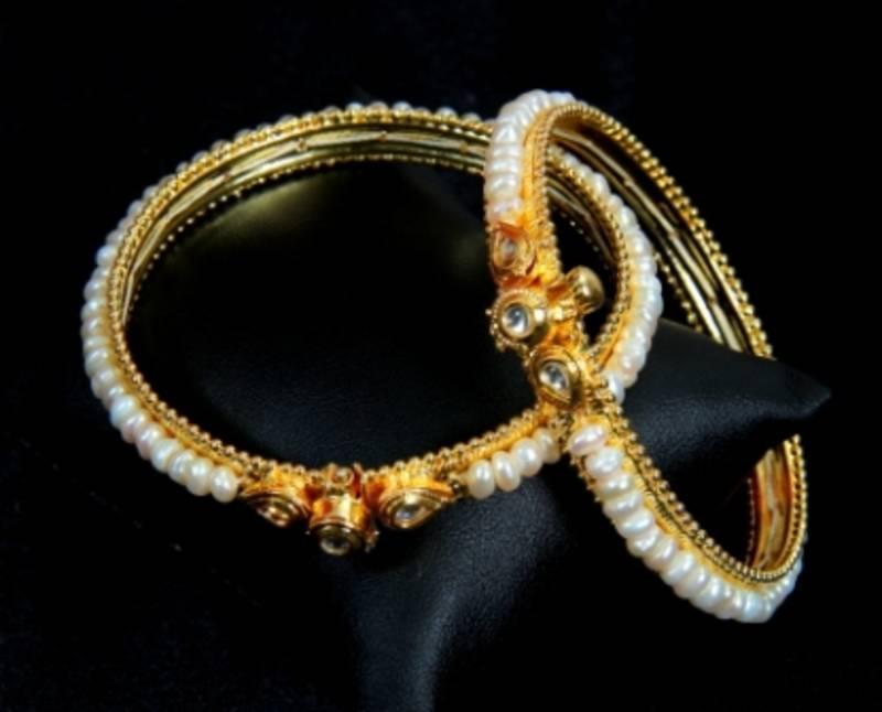 Buy Real Pearls Kundan N Pearls Bangles From Hyderabad Online