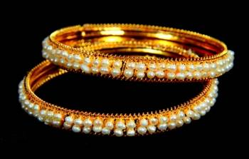 REAL PEARLS DOUBLE LINE SEED PEARLS BANGLE HYDERABAD