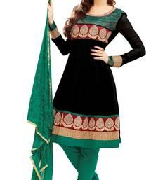 Buy Libas-Black and Green Unstitched Salwar Kameez dress-material online