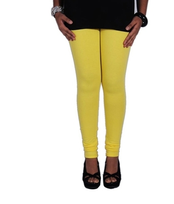 Yellow cotton lycra stitched leggings