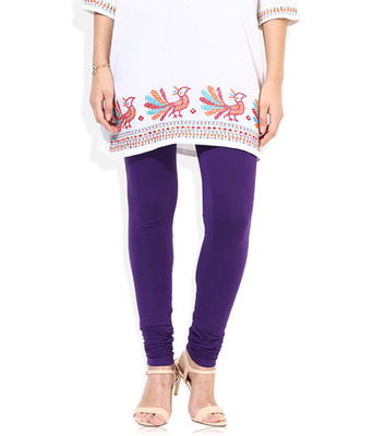 Purple cotton lycra stitched leggings