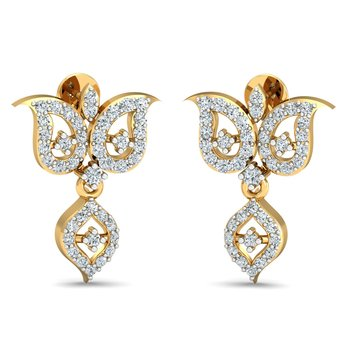 0.58ct diamond danglers drops 18kt gold earrings