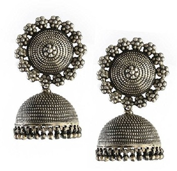 Silver Beads Studded Beautiful Designer Jhumki
