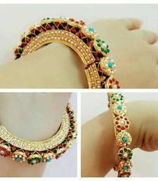 Buy multicolor pearl and meenakari hand crafted jaipuri kada for womens bangles-and-bracelet online