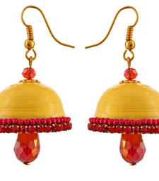 Buy Yellow teracotta and dokra jhumkas jhumka online