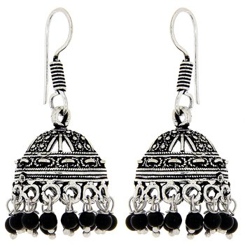 Exciting silver oxidised jhumka
