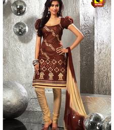 Buy Anmol - Centre of Attraction !!! Rust cotton unstitched suit. dress-material online