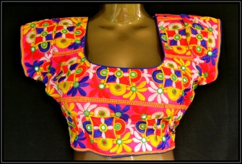Multicolor cotton embroidered readymade blouse