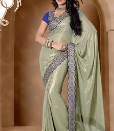 Buy Magnificent Sea Green Satin Georgette Saree With Resham Embroidered work satin-saree online