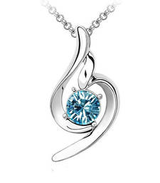 Buy 18k White Gold Plated Blue Solitaire Crystal Necklace Pendant For Women & Girls Pendant online