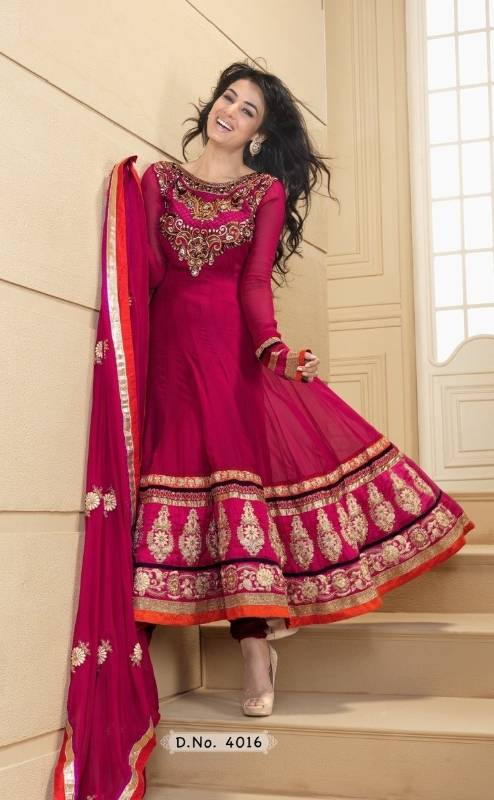 Ethnic deep pink color semi stitched anarkali suit - Dani Fashions - 198584 e618d50ba