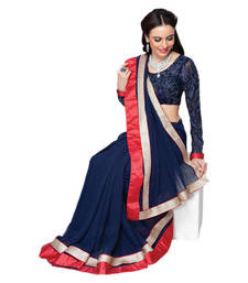 Buy Hypnotex Blue Georgette Saree Neela2215 party-wear-saree online