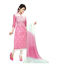 Buy Pink embroidered cotton semi stitched salwar with dupatta straight-suit online
