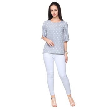 Grey crepe printed stitched top
