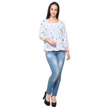 White crepe printed stitched top