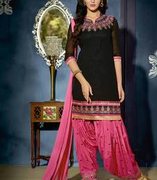 Buy Black georgette embroidered unstitched salwar with dupatta gifts-for-wife online