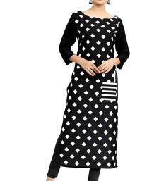 Buy black crepe printed stitched kurti ethnic-kurti online
