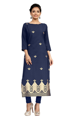 blue crepe printed stitched kurti