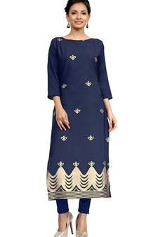 01505bda297 blue crepe printed stitched kurti