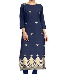 Buy blue crepe printed stitched kurti ethnic-kurti online