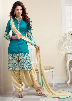 Turquoise bhagalpuri embroidered patiala salwar SUIT DRESS MATERIAL