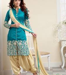 Buy Blue bhagalpuri embroidered unstitched salwar with dupatta patiala-salwar online