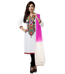 Buy Kashmiri Embroidery Straight Fit Suit in Black and White gifts-for-mom online