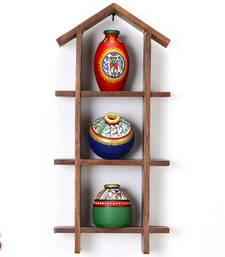 Buy Three Tier Wall decor with Hand painted Terracotta Pots gifts-for-mom online