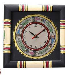 Buy Hand painted worli style Wood Wall Clock gifts-for-mom online