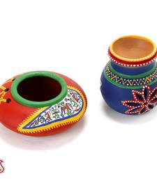 Buy Set of Red and Blue Terracotta Tea light Holder with Tribal Art gifts-for-mom online
