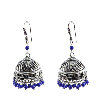 Handmade Oxidized Jhumki With Reconstituted Lapis Beads Earrings-Jaipuri Night Glow Jewelry