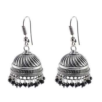 Black Beaded Indian Jhumka-Handmade Hook Earrings-Jaipur Jewellery