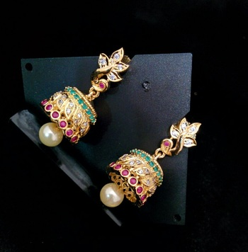 Multicolor Agate Gold Plated Jhumkas