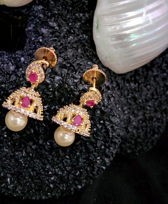White Agate Gold Plated Jhumkas