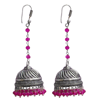 Pink Crystal Beads Traditional Silver Overlay Jhumka Earrings With Oxidized Finish