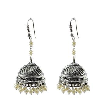 Royal Tradional Jewellery-Pearl Jhumka Earrings With Oxidized Finish