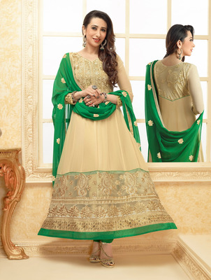 Karishma Kapoor Cream and Green Colour Georgette Anarkali Salwar Kameez By fabfiza
