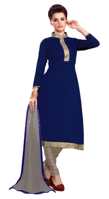 Blissta Navy Blue Chanderi Embroidered Straight Suits Dress Material