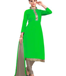 Buy Blissta Green Chanderi Embroidered Straight Suits Dress Material collar-neck-design online