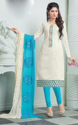 White Cotton Jacquard Embroidered unstitched kameez with dupatta
