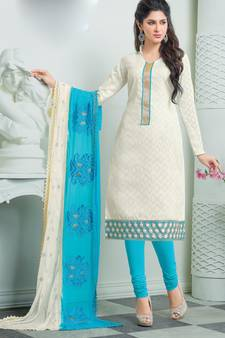 cd4a9f7ec08 White Cotton Jacquard Embroidered unstitched salwar with dupatta