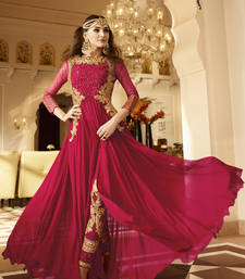 Blood red embroidered georgette semi stitched salwar with dupatta
