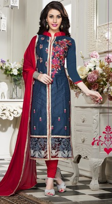 Peacock cotton embroidered straight suit dress material